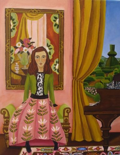 The Piano Lesson, painting by artist Catherine Nolin