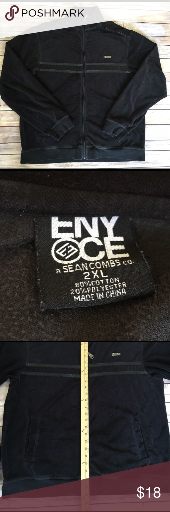 Sean Combs ENYCE Black Hoodie Sweater 2XL XXL Sean Combs ENYCE Black Hoodie Sweater 2XL XXL Sean Combs ENYCE Jackets & Coats Lightweight & Shirt Jackets