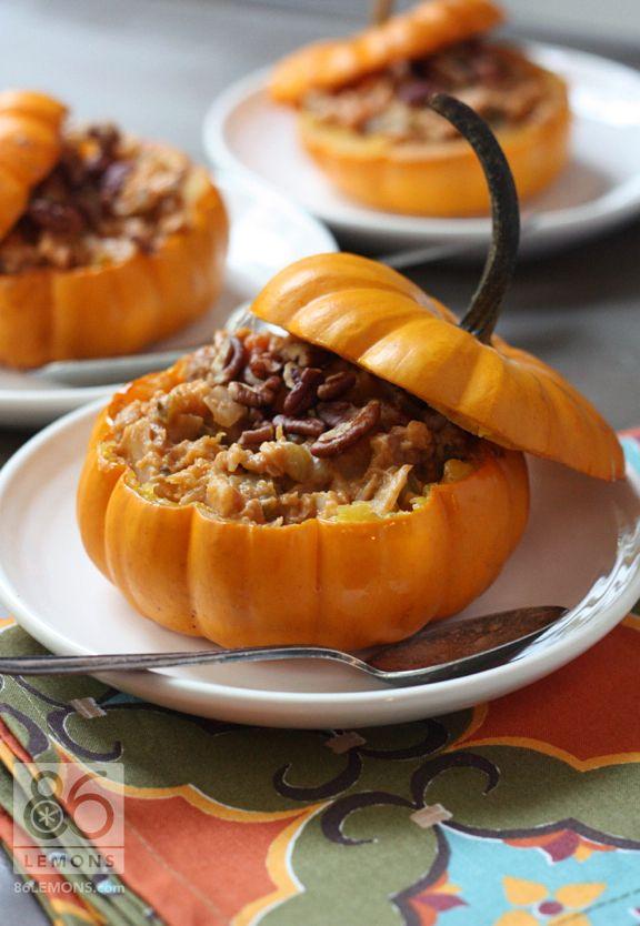 Vegan Gluten Free Harvest Vegetable Stew in Mini Pumpkins