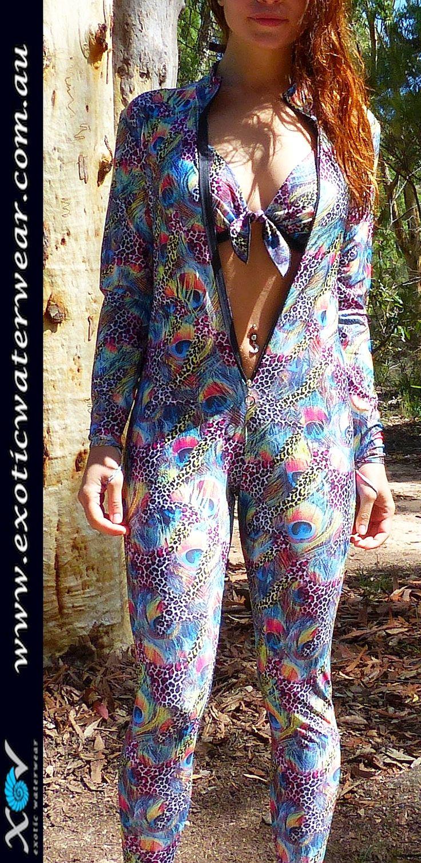 Pretty peacock protects your precious skin. UV sunprotection UPF50+ www.exoticwaterwear.com.au #stingersuit #fullbodyswimwear