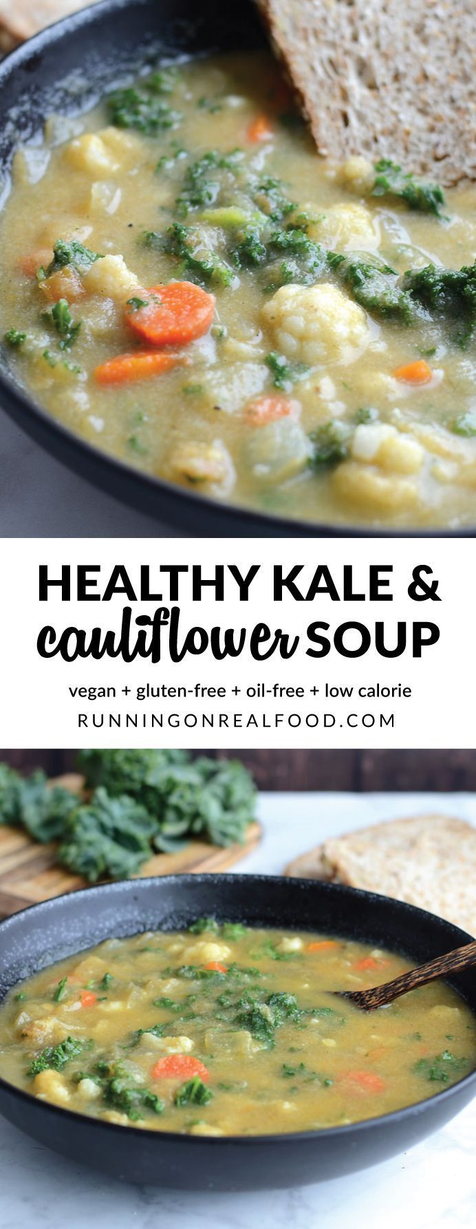 Low in calories, high in flavour - this healthy kale and cauliflower soup is satisfying, comforting and nutrient-rich. Ready in 20 minutes with just a handful of everyday ingredients. Vegan. Recipe: http://runningonrealfood.com/kale-and-cauliflower-soup/