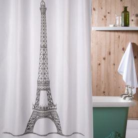 Tenda per doccia con torre Eiffel - vasca da bagno