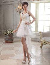 Robe mariée magnifique A-ligne ivoire col V en tulle avec dentelle traîne watteau