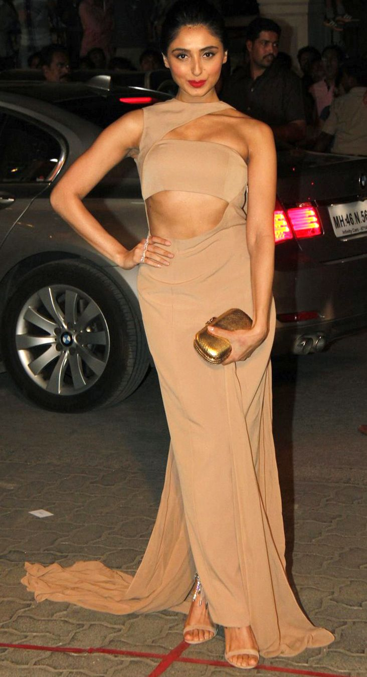 Pernia Qureshi in a Nude cut out draped gown by Nikhil Thampi. #availablenow #perniaspopupshop #shopaway #happyshopping