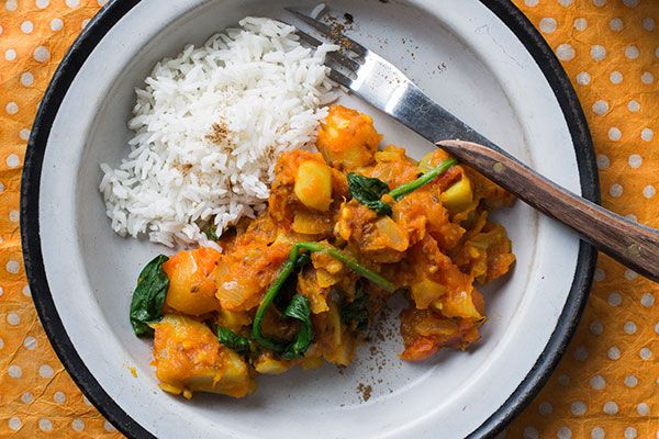 Gingery mixed vegetable and tomato curry with rice – Recipes – Bite