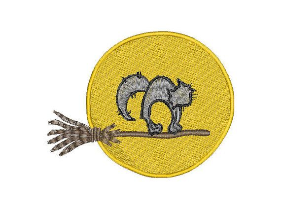 Halloween Embroidery Design Cat on the broom Moon Instant Download