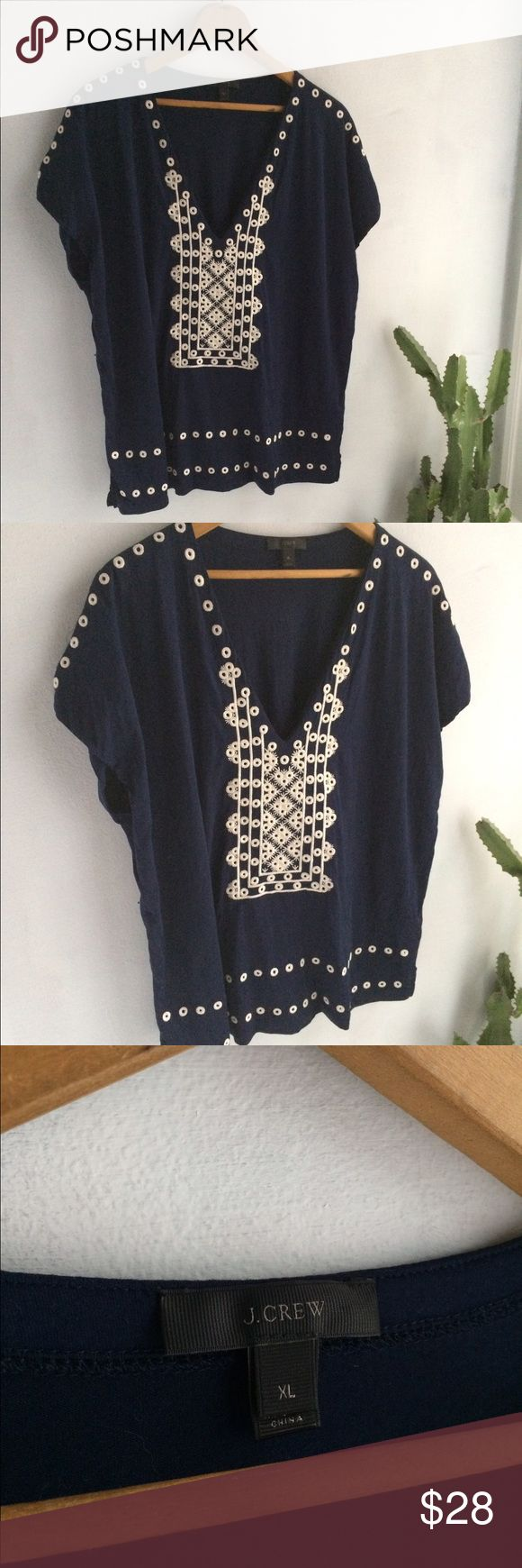 Gorgeous J.Crew top Carefully embroidered navy short sleeve top. In excellent condition. J. Crew Tops Tees - Short Sleeve