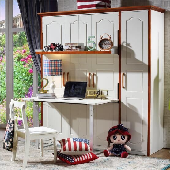 Source Space saving wooden murphy wall bed with bookcase and desk on m.alibaba.com