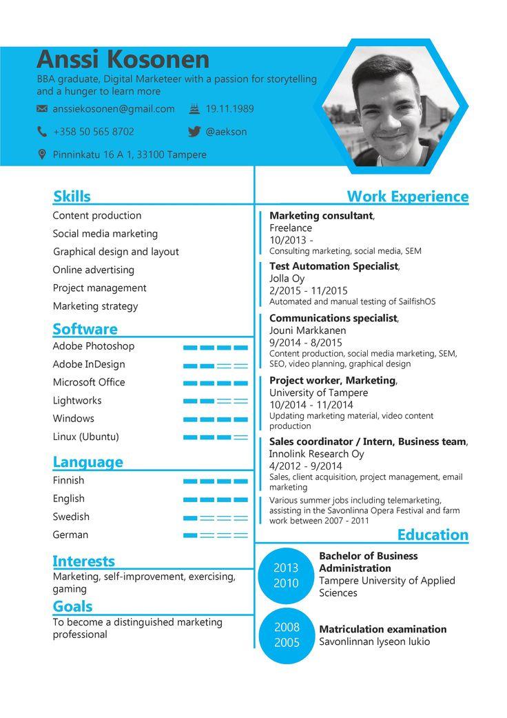 21 best Anssi Kosonen - My English CV images on Pinterest - cv english