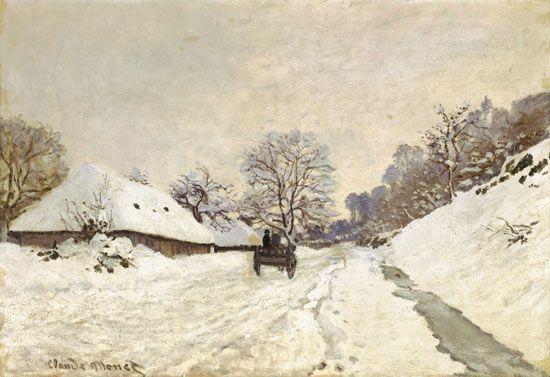 Claude Monet-Voitures sur route enneigée à Honfleur