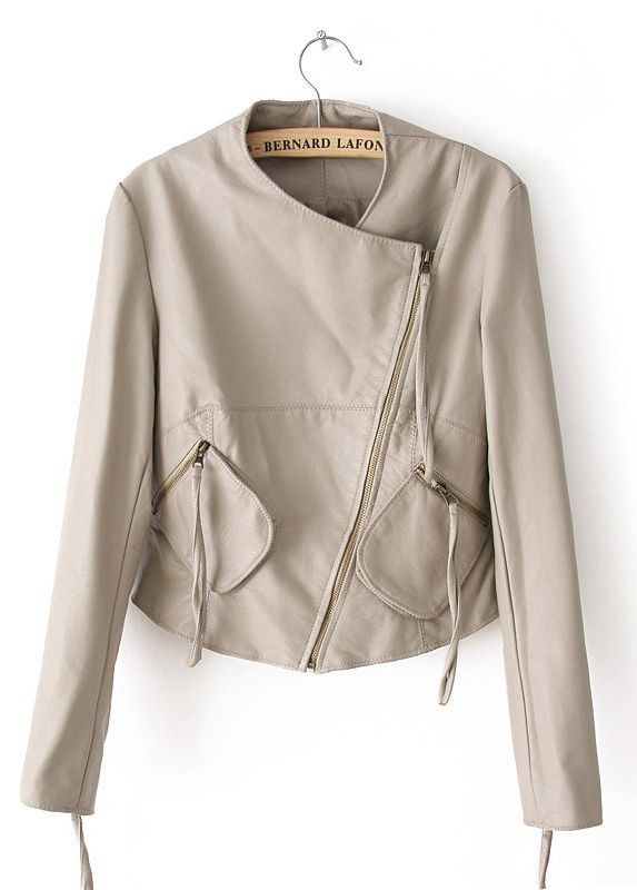 Beige Long Sleeve Zipper Pockets PU Jacket - Sheinside.com