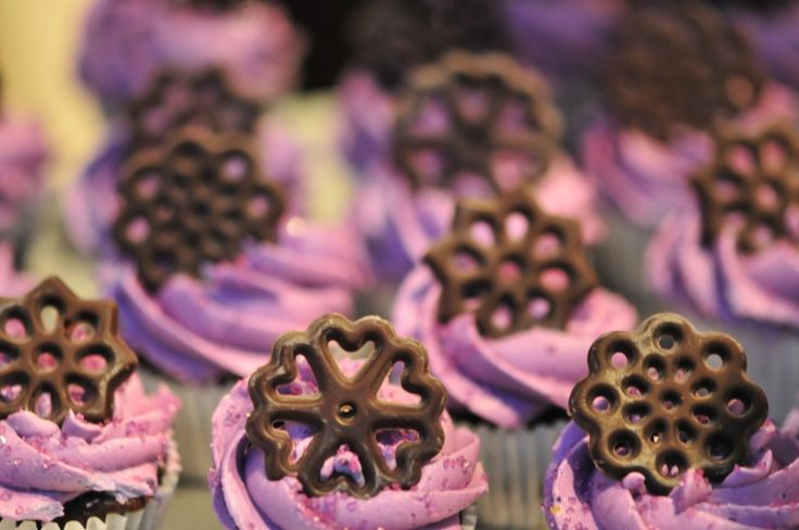 LollicakesTO - Chocolate & Vanilla Cupcakes With Dark Chocolate And Lavender Icing Adorned With A Decorative Chocolate