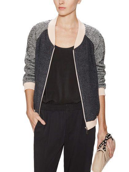 Herringbone Wool Bomber Jacket (Rebecca Minkoff)