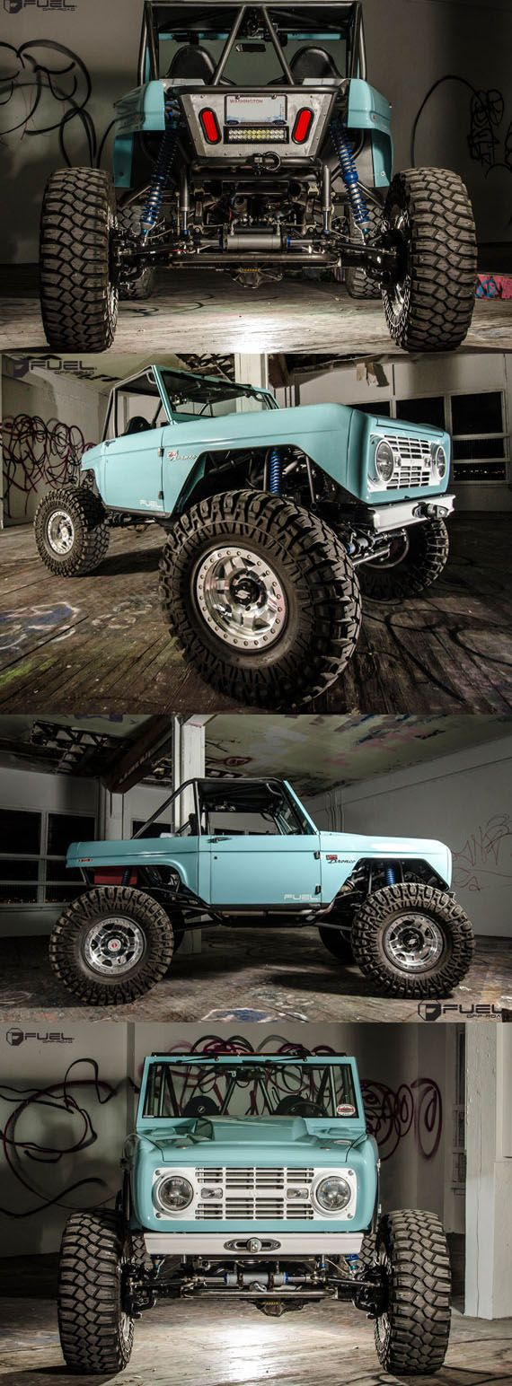 """Engine: Ford 427 Windsor Transmission: Ford C4 Transfer Case: Atlas 2 4.3 Steering: Full hydralic front / rear Axles: Dynatrac dana 60 front / rear Shocks - 14"""" king racing remote reservoir coilovers Overall Wheelbase 105"""""""