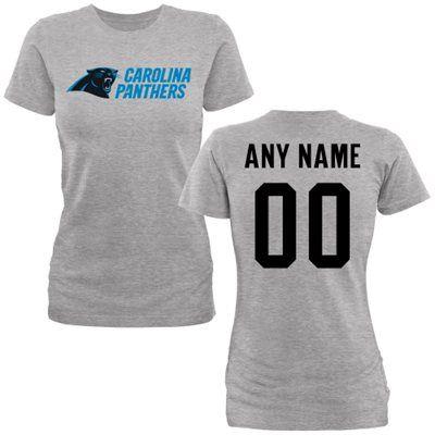 9b87c450c ... Womens Carolina Panthers Gray Custom Name Number Wordmark Slim Fit T-  Shirt ...