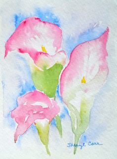 Pink Calla Lilies Watercolor Notecard by FlowersToSend on Etsy, $3.00