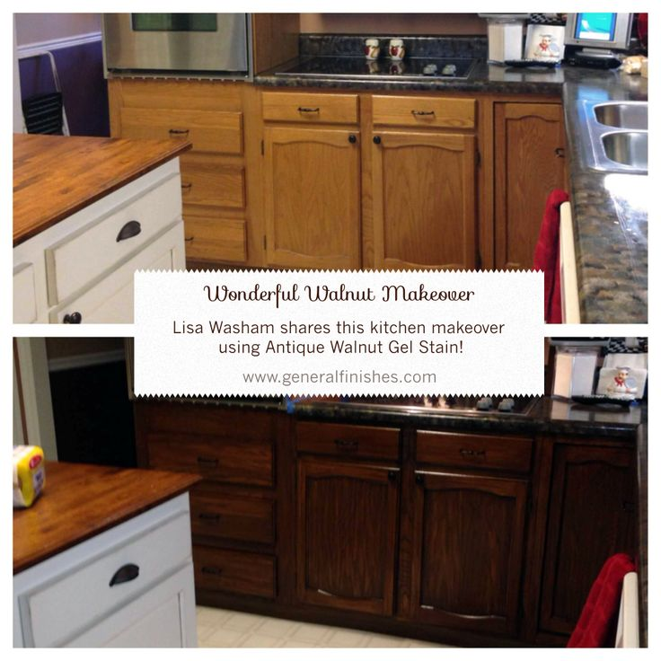 diy refinish kitchen cabinets island stainless steel top general finishes antique walnut gel stain helped lisa ...