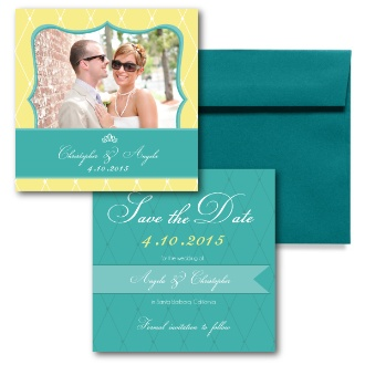 Teal Save the Dates, Yellow Save the Dates, Photo Save the Dates