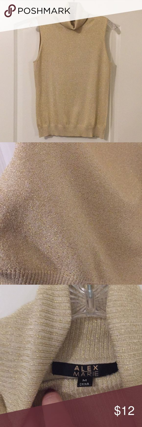 Metallic Gold Turtleneck Shell Sparkly light gold sleeveless shell for under jackets, blazers and more. Size medium. By Alex Marie. Like New used condition. Alex Marie Tops