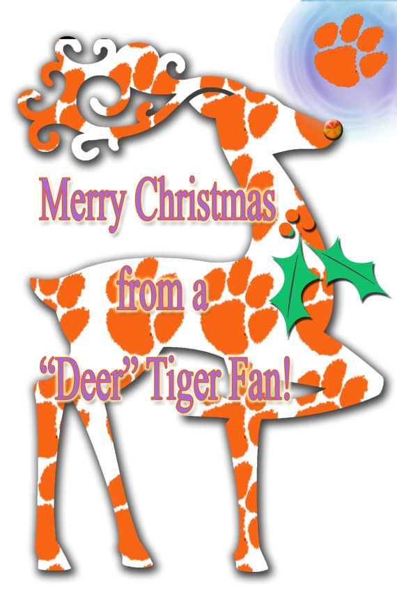 Clemson Tiger Greeting Cards With A Tiger Paw Deer by SonnyBuds, $14.00