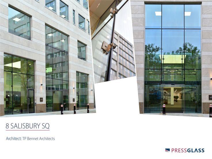 8 Salisbury Square in London - PRESS GLASS supplied almost 200 m2 of complex point fixed structural glazing to the centre-piece two storey ground floor main entrance screens. / 8 Salisbury Square - na ten obiekt dostarczyliśmy, w sumie około 200 m2 szyb fasadowych, do tzw. szklenia pełno strukturalnego z mocowaniami punktowymi, z przeznaczeniem na parter elewacji frontowej.