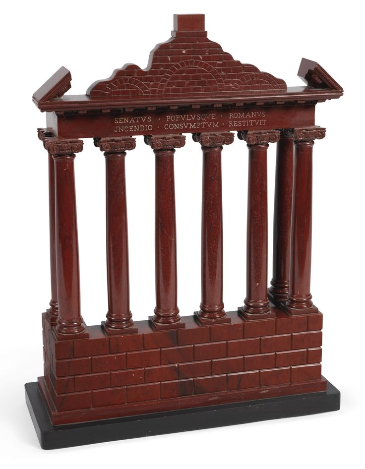 An Italian 'Grand Tour' rosso antico reduction of the Temple of Saturn in the Roman Forum 20th century
