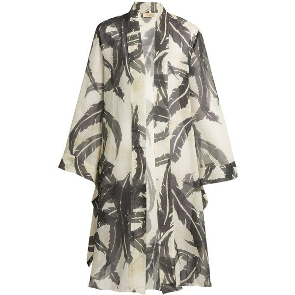 Adriana Degreas Martinique-print silk crepe de Chine cover-up ($393) ❤ liked on Polyvore featuring swimwear, cover-ups, green multi, green bathing suit, kimono swimsuit cover up, swimsuit cover ups, bathing suit cover ups and swim suit cover up