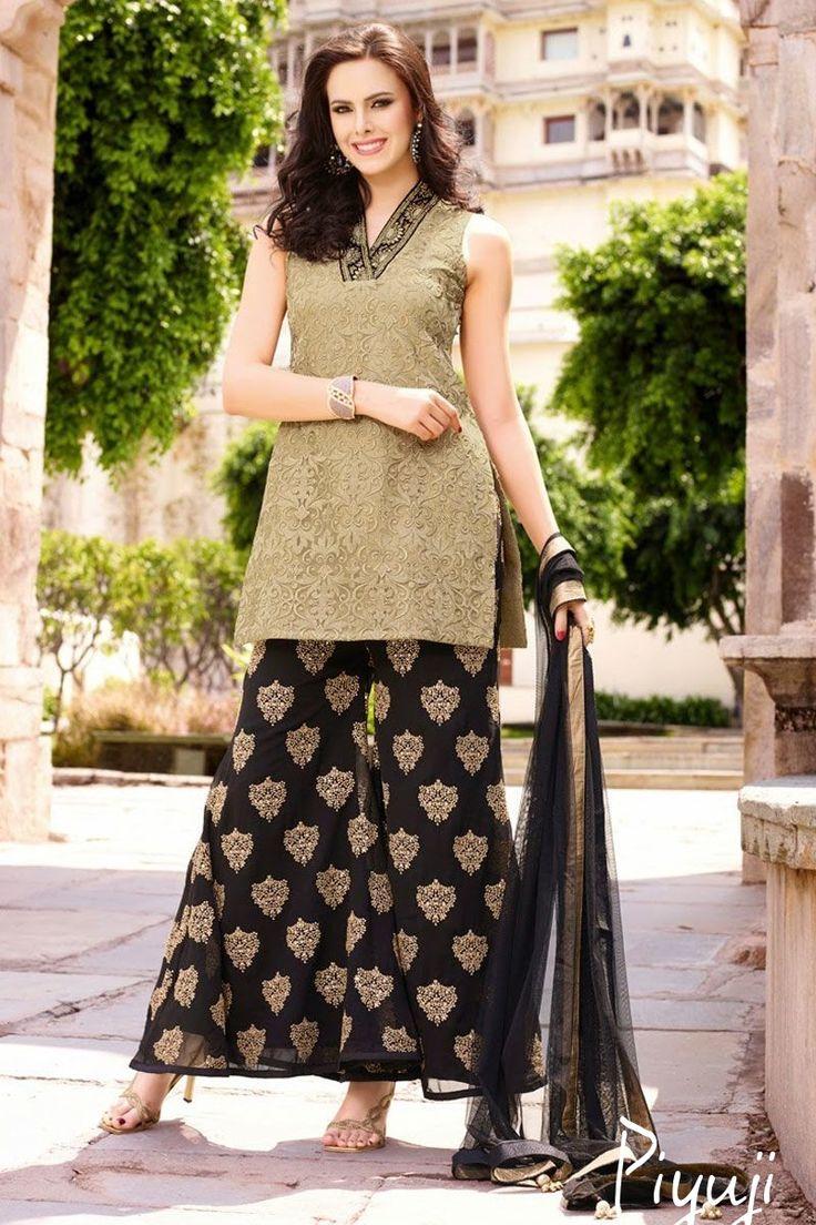 sleeve less full length black salwar suit