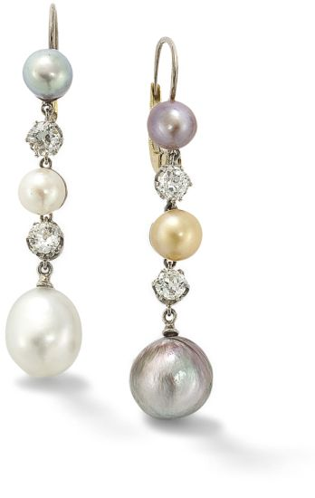 A pair of natural coloured pearl and diamond earrings