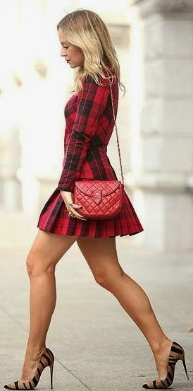 Red And Black Christmas Tartan Little Dress Source