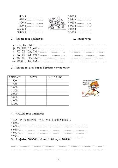 Δ' ΤΑΞΗ 2ου ΔΗΜΟΤΙΚΟΥ ΑΡΧΑΝΩΝ: Μαθηματικά Δ΄ Επανάληψη 1ης Ενότητας: κεφ. 1 - 7