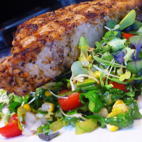 Roasted Chopped Salad with Grilled Blackened Tuna