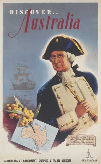 'Discover ... Australia' colour poster showing Captain Cook holding a telescope, with a sailing ship moored in the background. A spray of wattle and a map of Australia are shown beside Cook. #goldenwattle