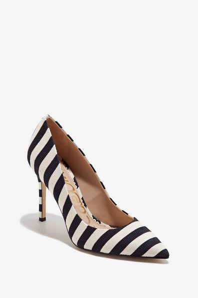 b47fd1cb4e9d94 Textured black and white stripes on this sexy pointed-toe pump create an  eye-catching stiletto heel. HAZEL by Sam Edelman Textile Imported 4