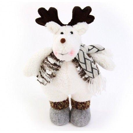Decoración de Navidad. Renos de pie decorativos para Navidad, de tejido de 32 cm