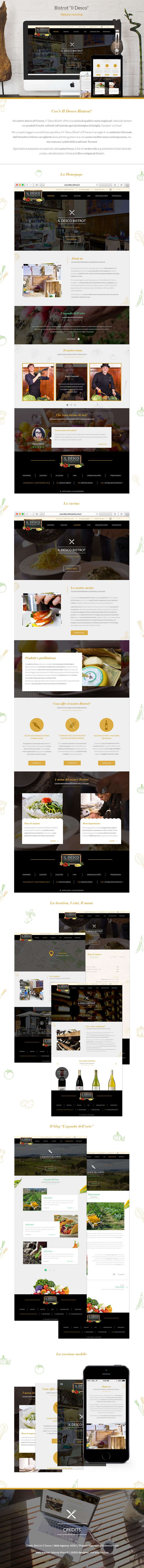"""Progettazione del layout grafico del sito web """"Il desco Bistrot"""", versione desktop e mobile"""
