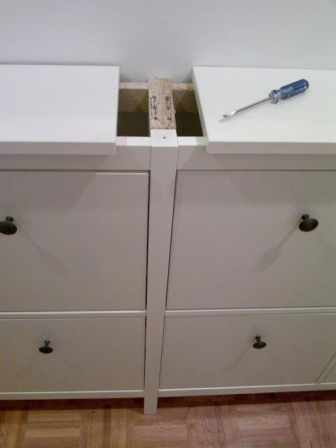 IKEA hemnes shoe cabinet made into a double by removing one of the sides, and drilling the second cabinet into the first