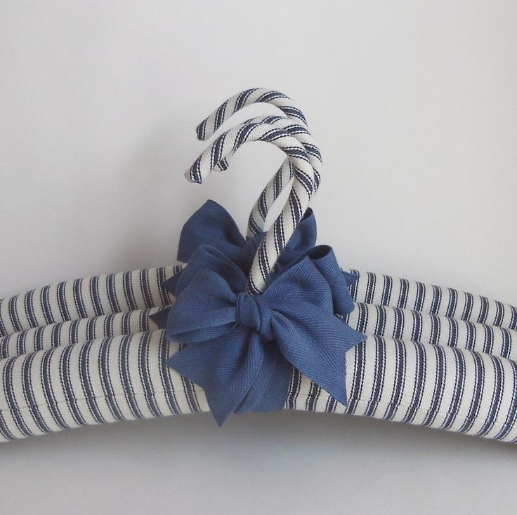 Padded Hangers Vintage TIcking Organic Indigo Ribbon.