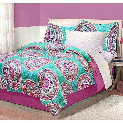 Boho Chic Girls Full Queen Comforter Set Modern Pink Teal