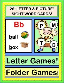GAMES for INITIAL LETTERS / SOUNDS! Use this RHYMING GAME to introduce or review letters and sounds. Comes with 26 LETTER / PICTURE CARDS. Each card pairs the Letter with 2 Pictures and 2 Sight Words-- most are from the Dolch Lists. Then use the cards in FOLDER GAMES for your Centers-- directions included. (13 pages) From Joyful Noises Express TpT! $