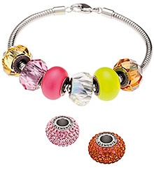 """""""Bright Outlook"""" Color Inspiration Swarovski Crystal & Pearl 80101 14mm BeCharmed Pavé Beads with Crystal Astral Pink Chatons"""