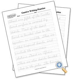 Tracing Cursive Handwriting - WorksheetWorks.com--Parent types in scripture, poetry, whatever you want put in cursive for tracing practice and prints it out for student to practice.