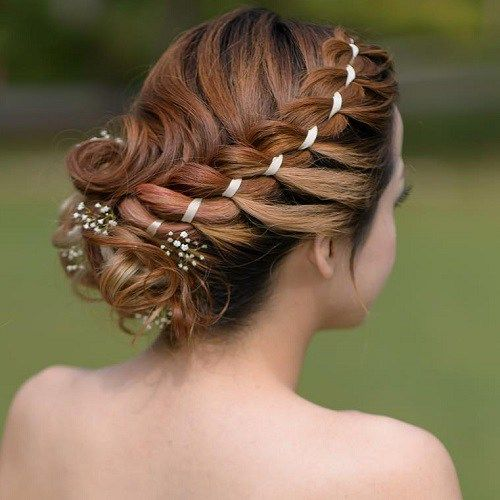 Curly+Updo+With+A+Side+Ribbon+Braid