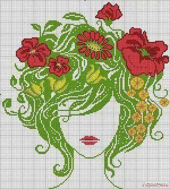 Cross stitch flower girl