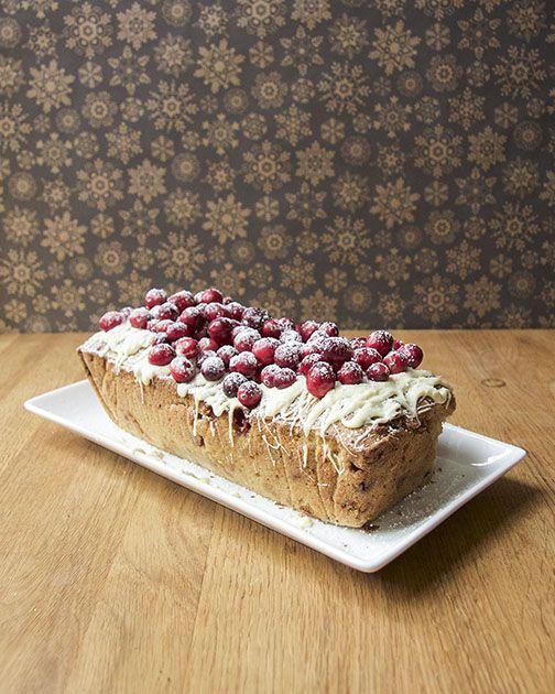 Cranberry, White Chocolate and Macadamia Nut Loaf Cake
