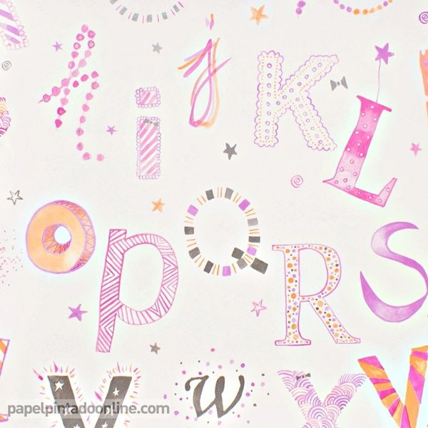 Papel pintado infantil summer camp 7281 02 31 con letras - Papel pintado letras ...