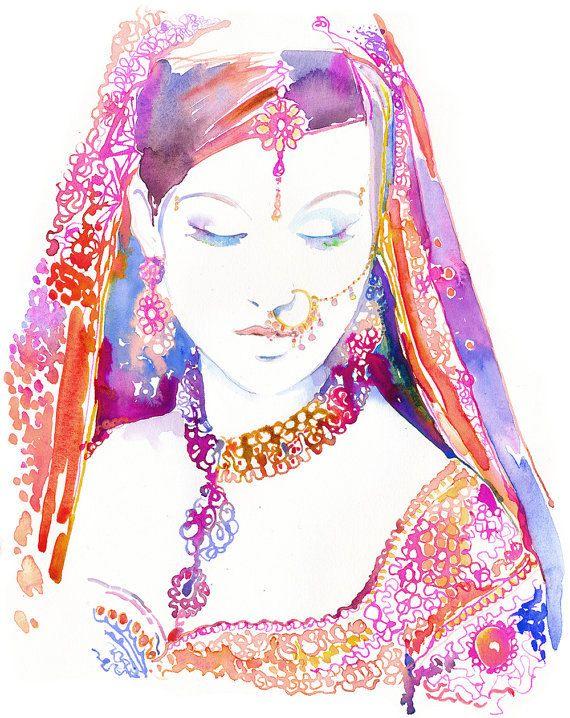 Indische Braut Print Aquarell indische Braut von silverridgestudio