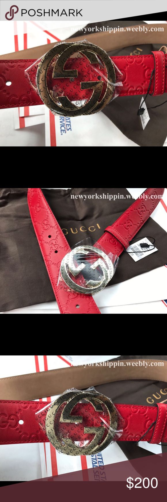 Official men's Red Gucci guccissima belt Red Gucci guccissima leather belt with gold interlocking g buckle. Comes with original box, dust bag and tag. Visit website to purchase. $99.99 including priority shipping. 1-3 days delivery. Gucci Accessories Belts