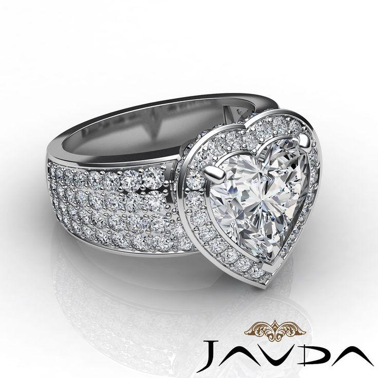 2 5 Ct Halo Pave 14k White Gold Heart Diamond Engagement Bridal Ring I SI1 GIA | eBay