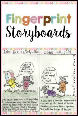 Engage your students with fingerprint storyboards.  This is a strategy that can help students remember events in any content area while having fun and incorporating the arts!
